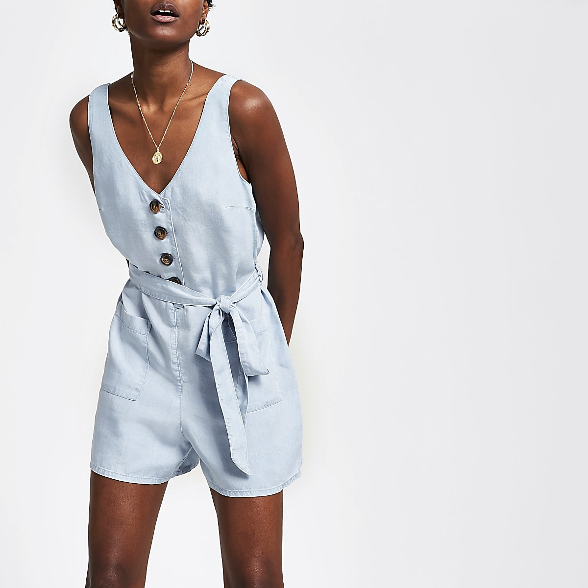 Light blue button front tie waist playsuit