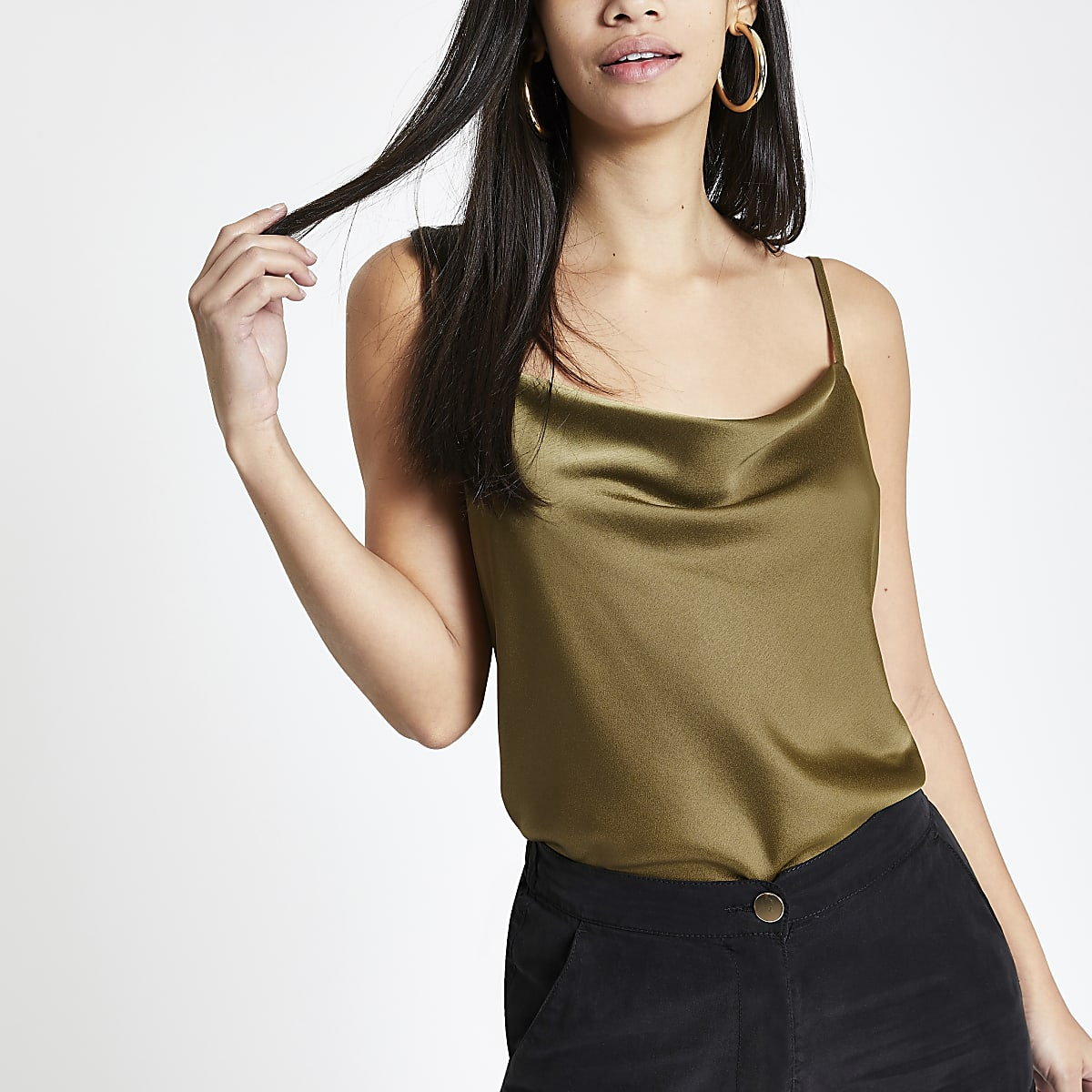 Khaki cowl neck cami top