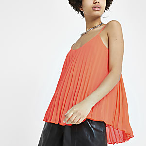 Coral pleated cami top