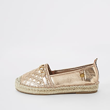 Gold quilted espadrille sole shoe