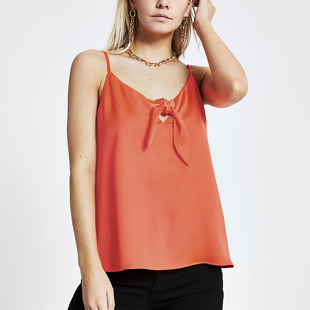 Petite orange bow front cami top