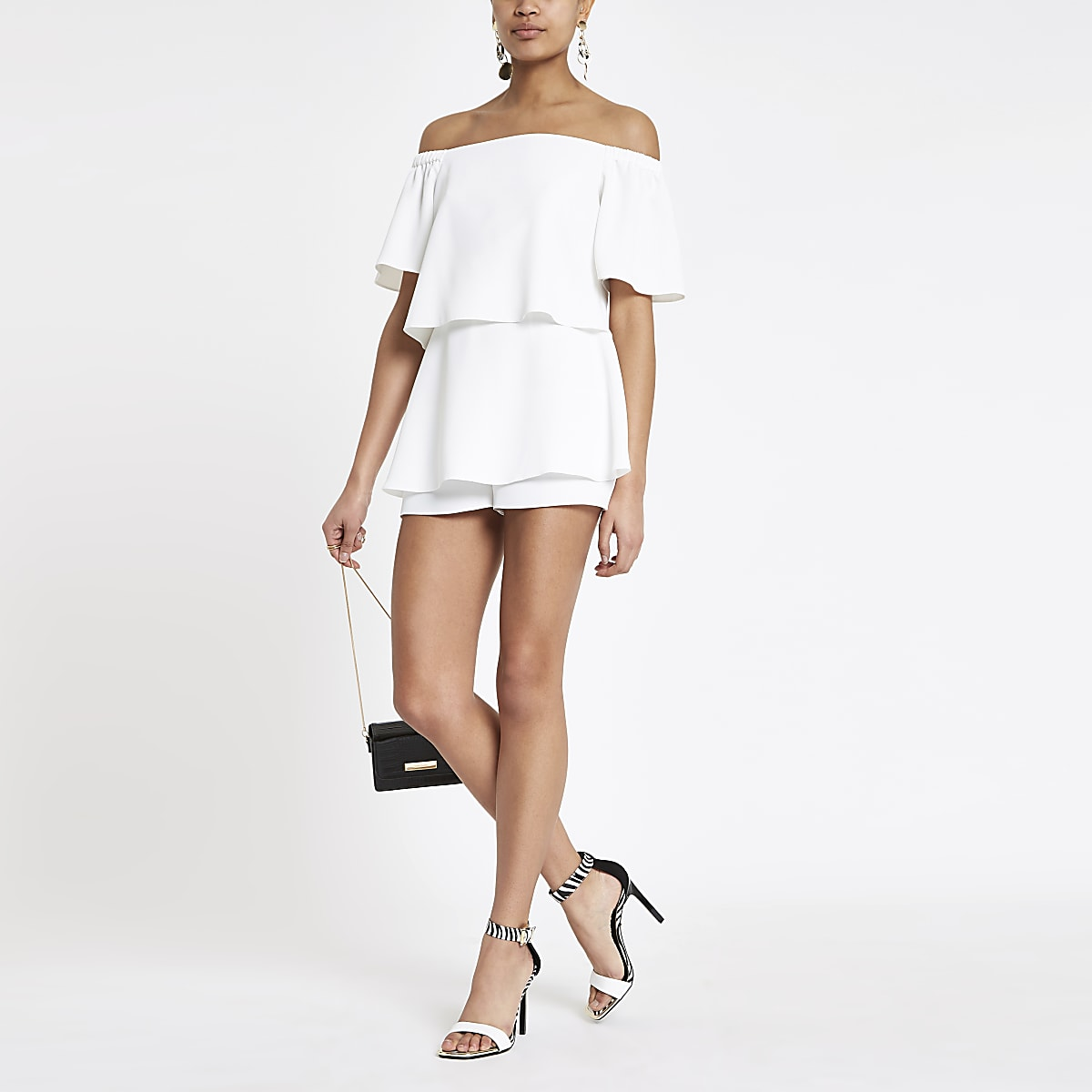 White bardot tiered frill playsuit