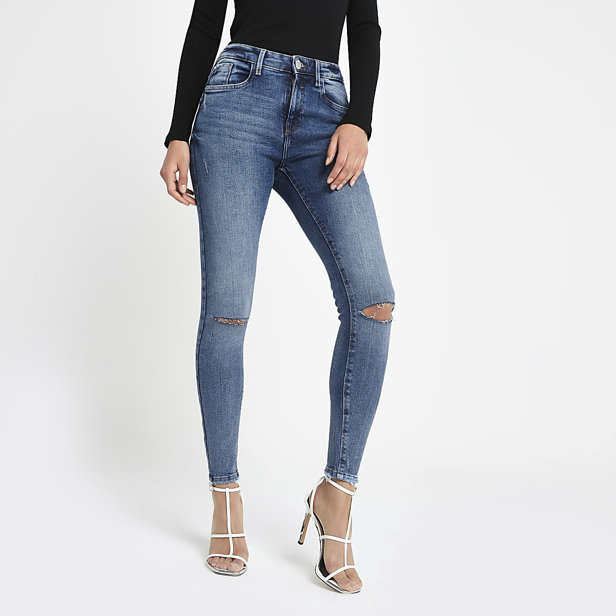 Mid blue Amelie super skinny rip jeans
