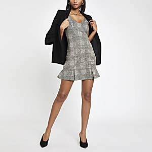 Grey check pinafore bodycon dress