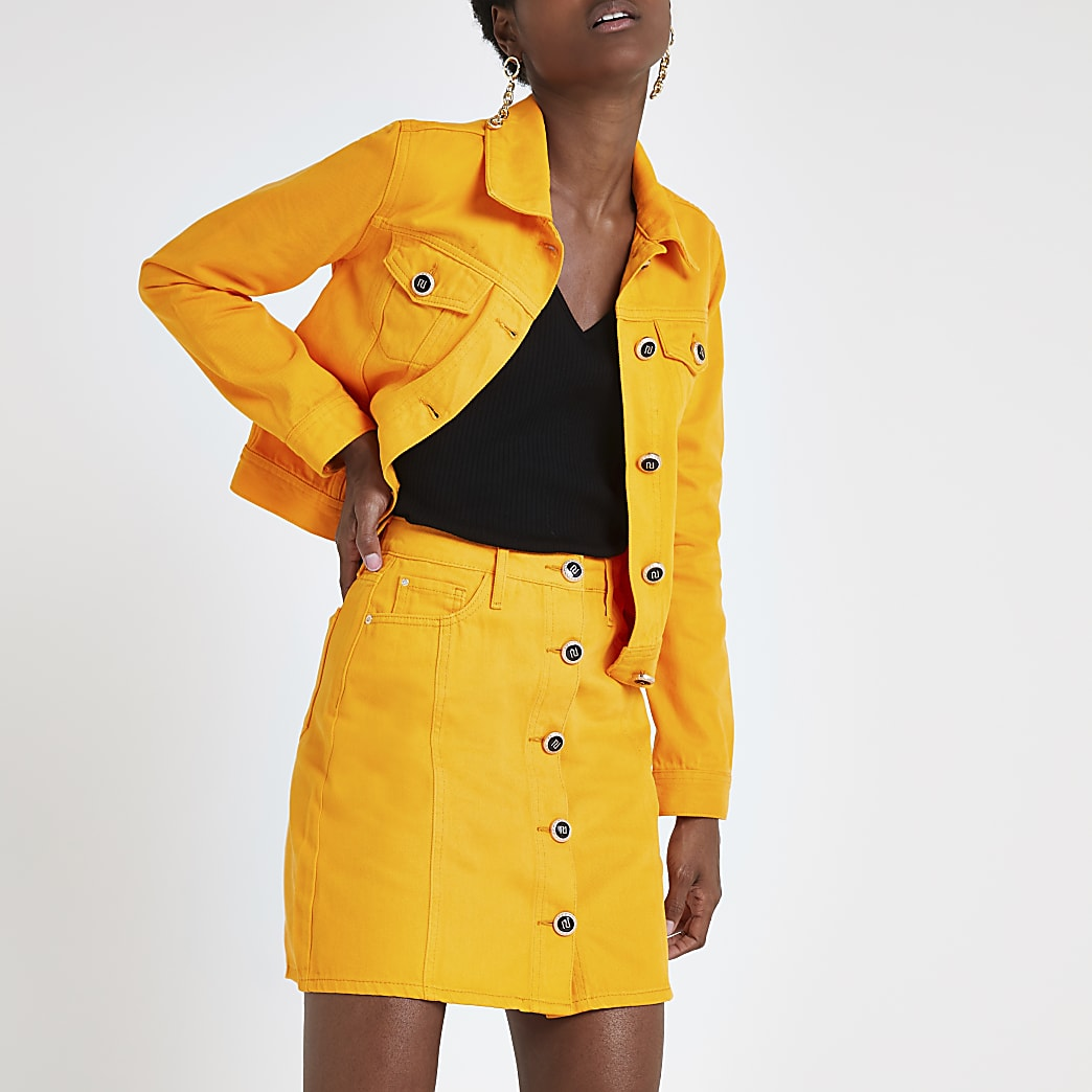 Orange denim mini skirt