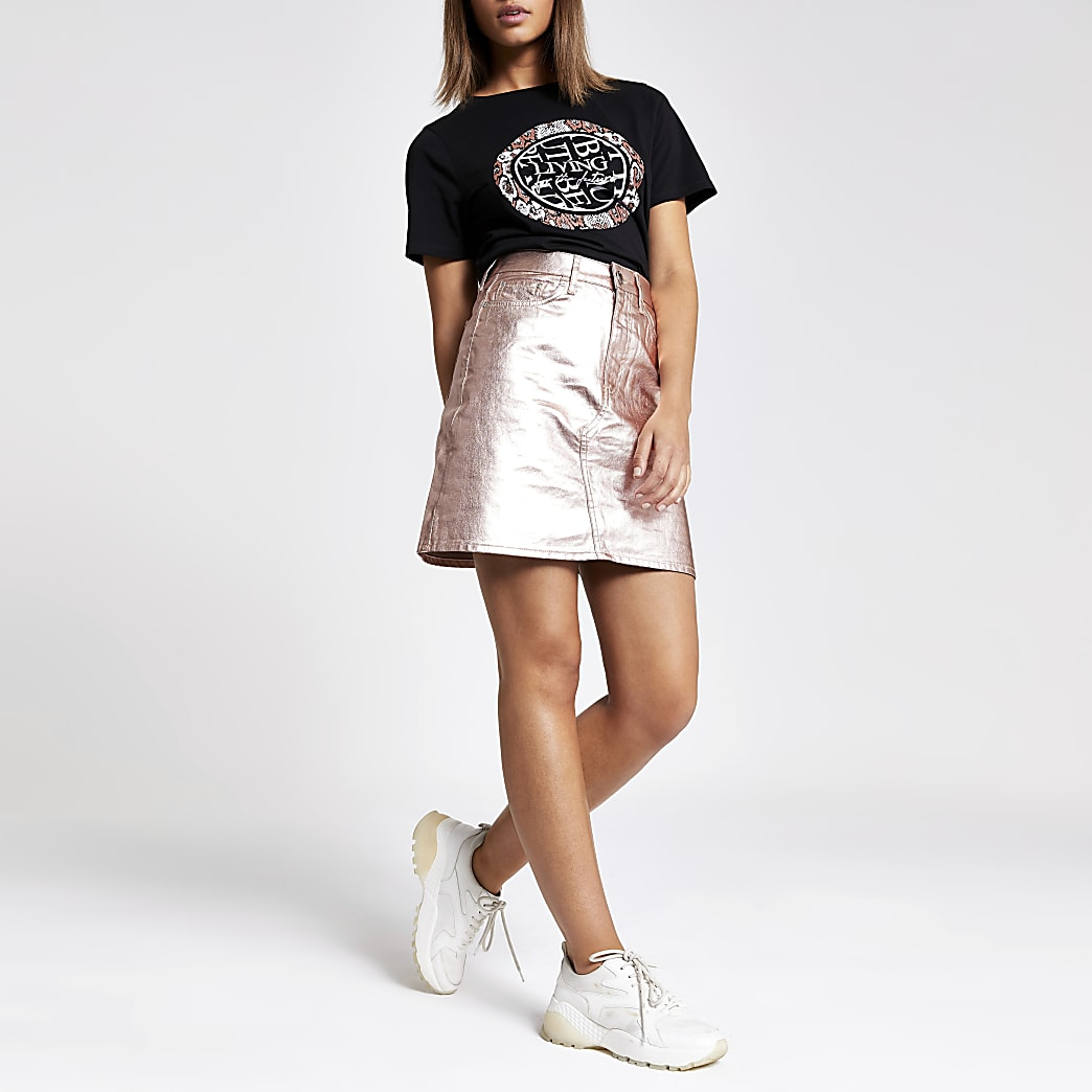 Rose gold metallic denim skirt