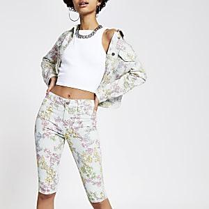Hellblaue Rad-Shorts mit Print