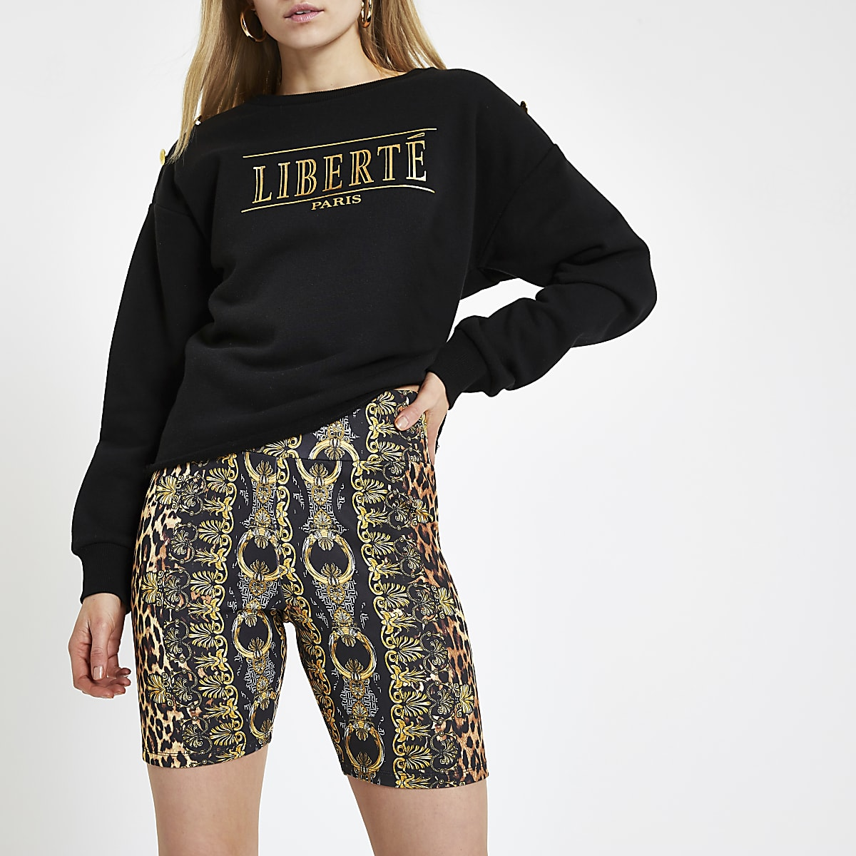 ad1e7a54cc Short cycliste à imprimé foulard léopard marron - Shorts casual ...