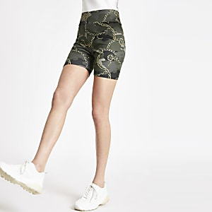 Khaki camo print cycling shorts
