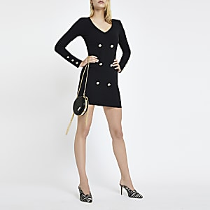Black double breasted blazer bodycon dress