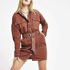 Burgundy utility denim dress