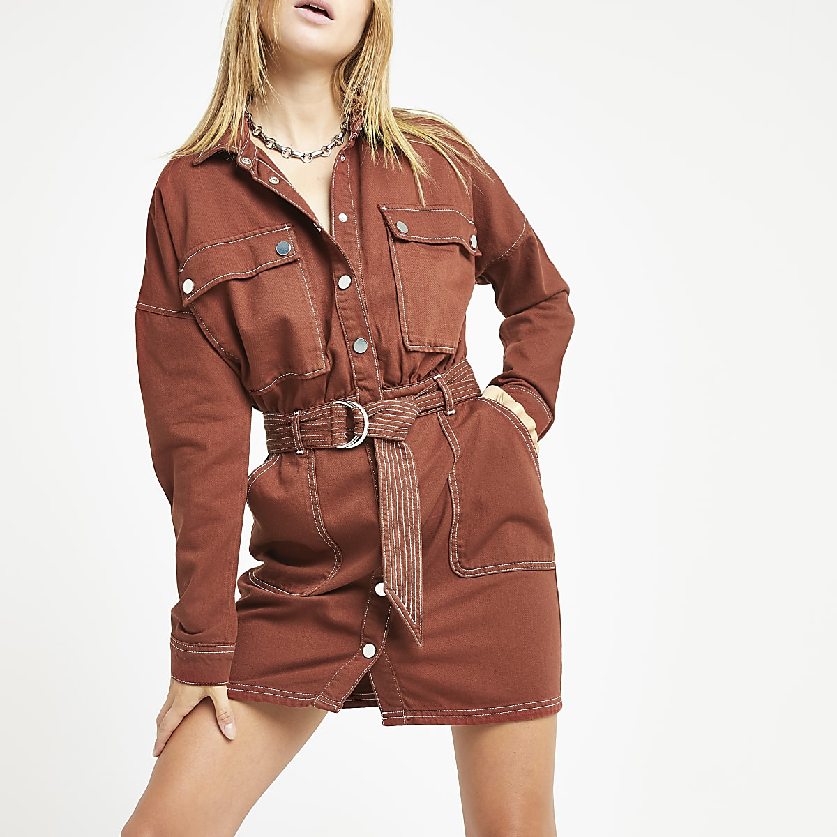Burgundy utility denim dress