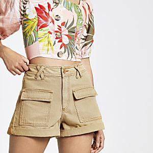 Annie – Beige Utility-Shorts mit hohem Bund