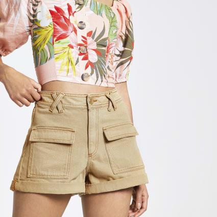 Beige Annie utility high waist shorts