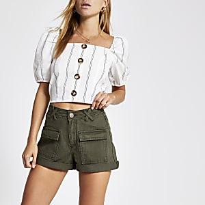 Khaki utility denim shorts