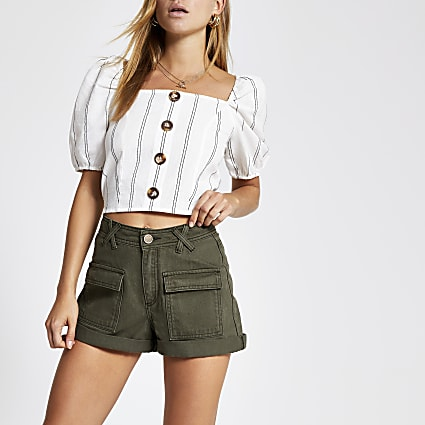 Khaki utility denim shorts