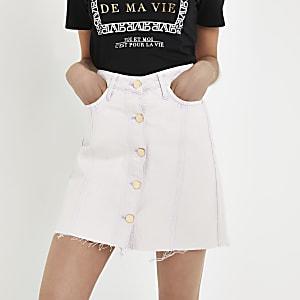 Lilac denim mini skirt