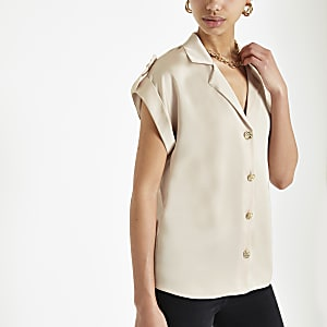Light beige short sleeve utility shirt