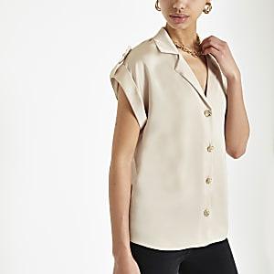 Lichtbeige utility overhemd met korte mouwen