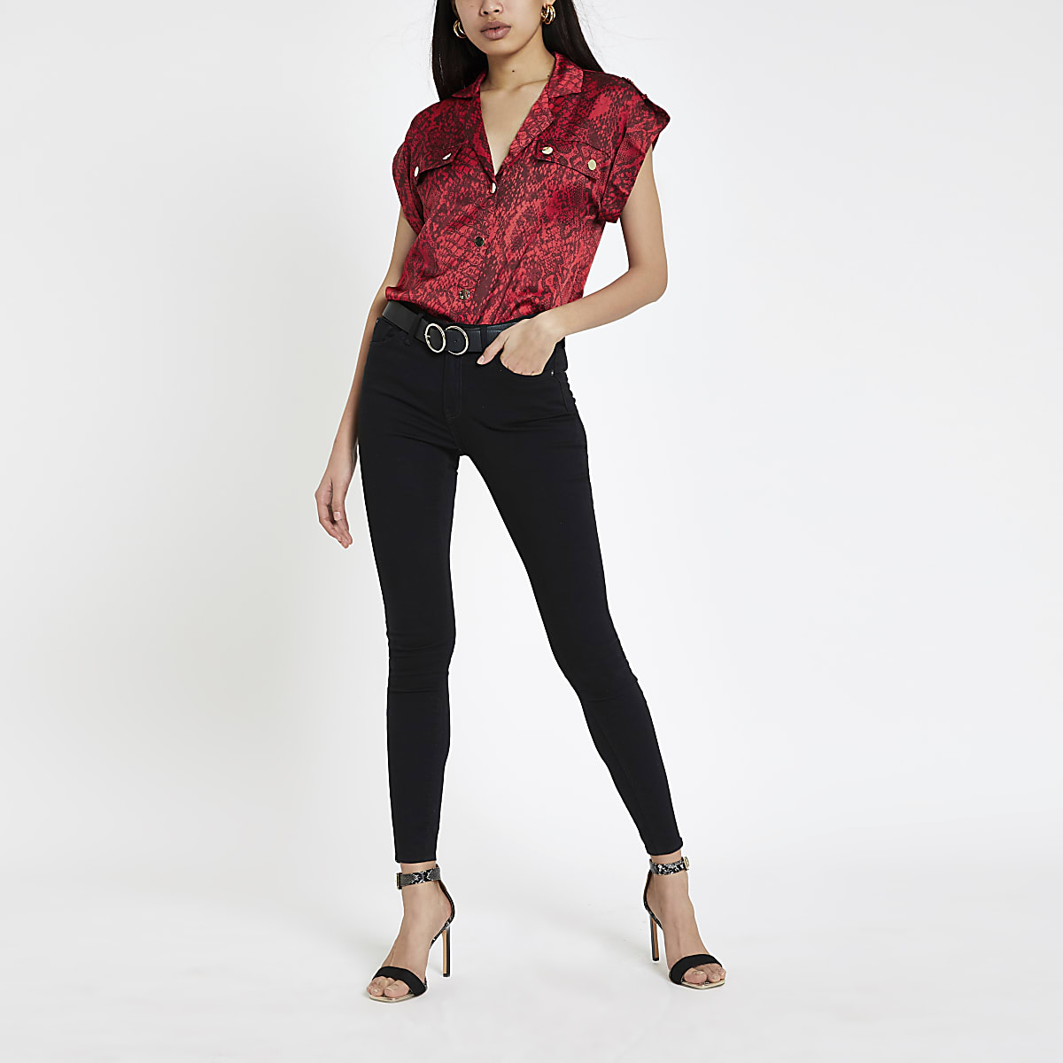 Red snake print utility shirt
