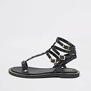Black stud gladiator sandals