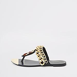 Sandales noires à entredoigt avec chaînes