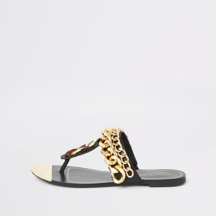 Black chain toe thong sandals