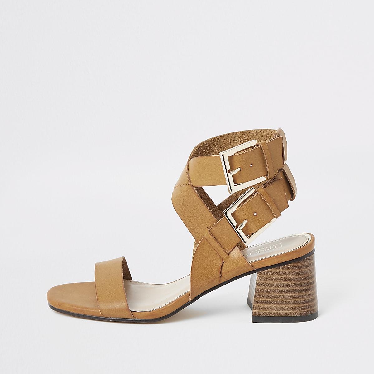 Light brown double buckle block heel sandals