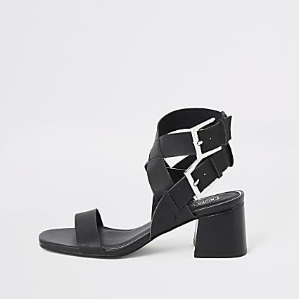 Black double buckle block heel sandals