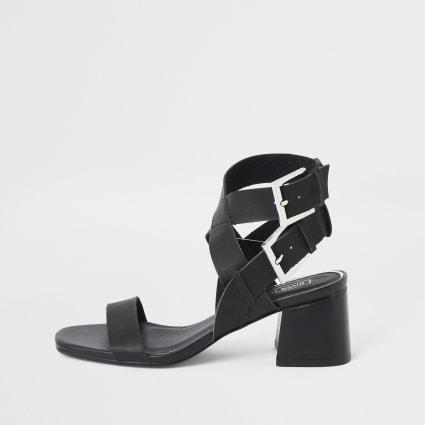 Black double buckle block heel sandals