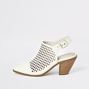 Beige western cut out shoes
