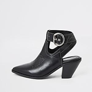 Zwarte western schoenlaarsjes met uitsnijdingen