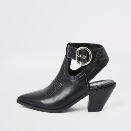 Black western cut out shoe boots