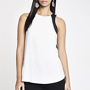 White pleated sleeveless top