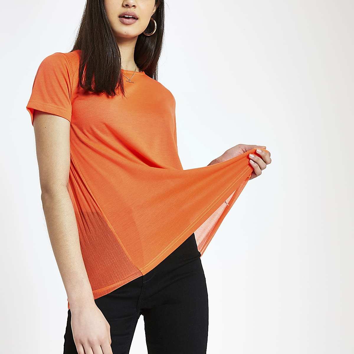 Oranje geplooid T-shirt