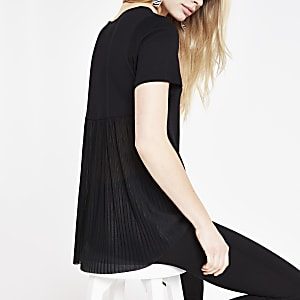Zwart geplooid ruimvallend T-shirt