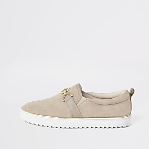 Beige snaffle trim slip on trainers