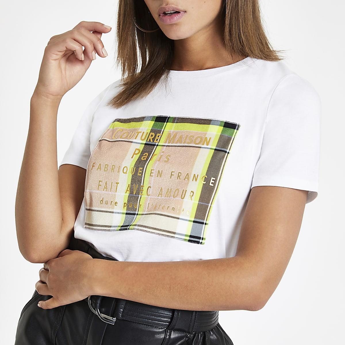 White velvet check box print T-shirt