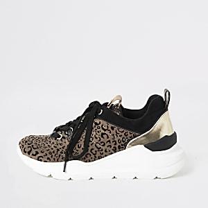 Baskets de course à imprimé léopard marron