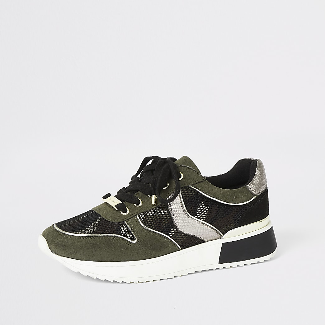 Khaki camo lace-up runner trainers