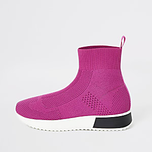 Pink sock runner trainers