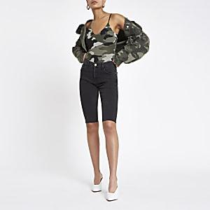 Khaki camo V neck bodysuit