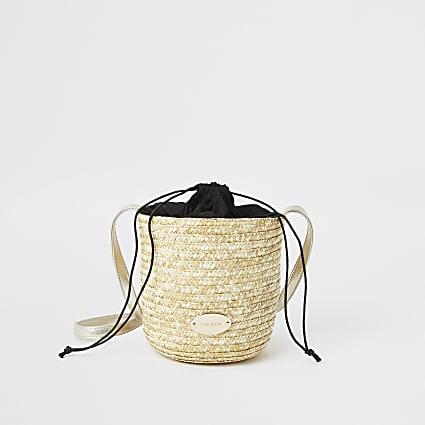 Beige straw bucket cross body bag