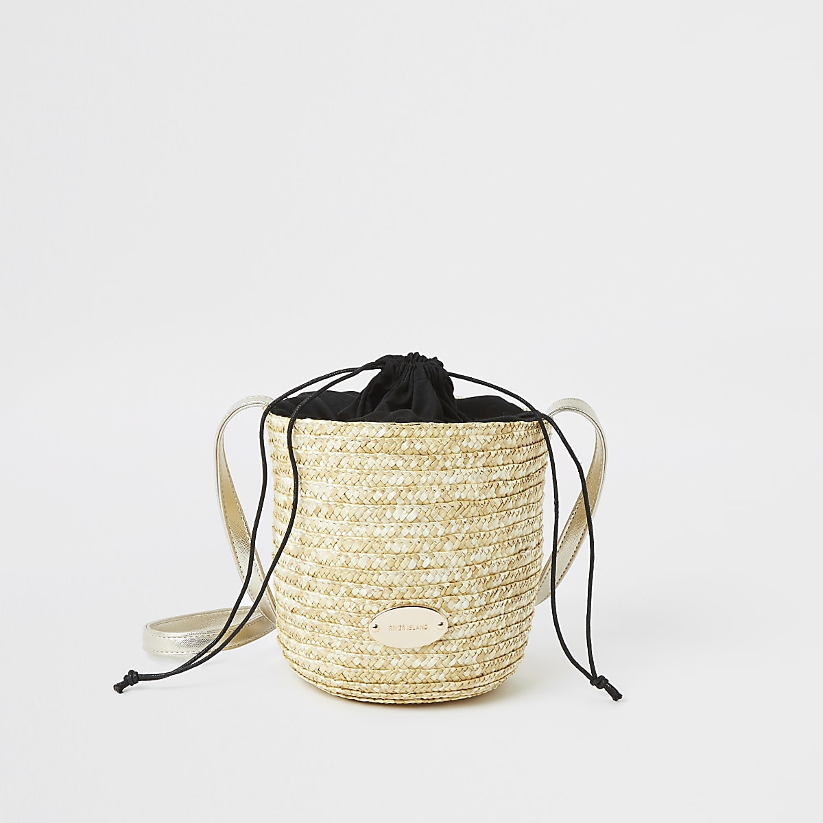 Beige straw bucket cross body bag