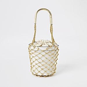 Gold metallic woven bucket bag