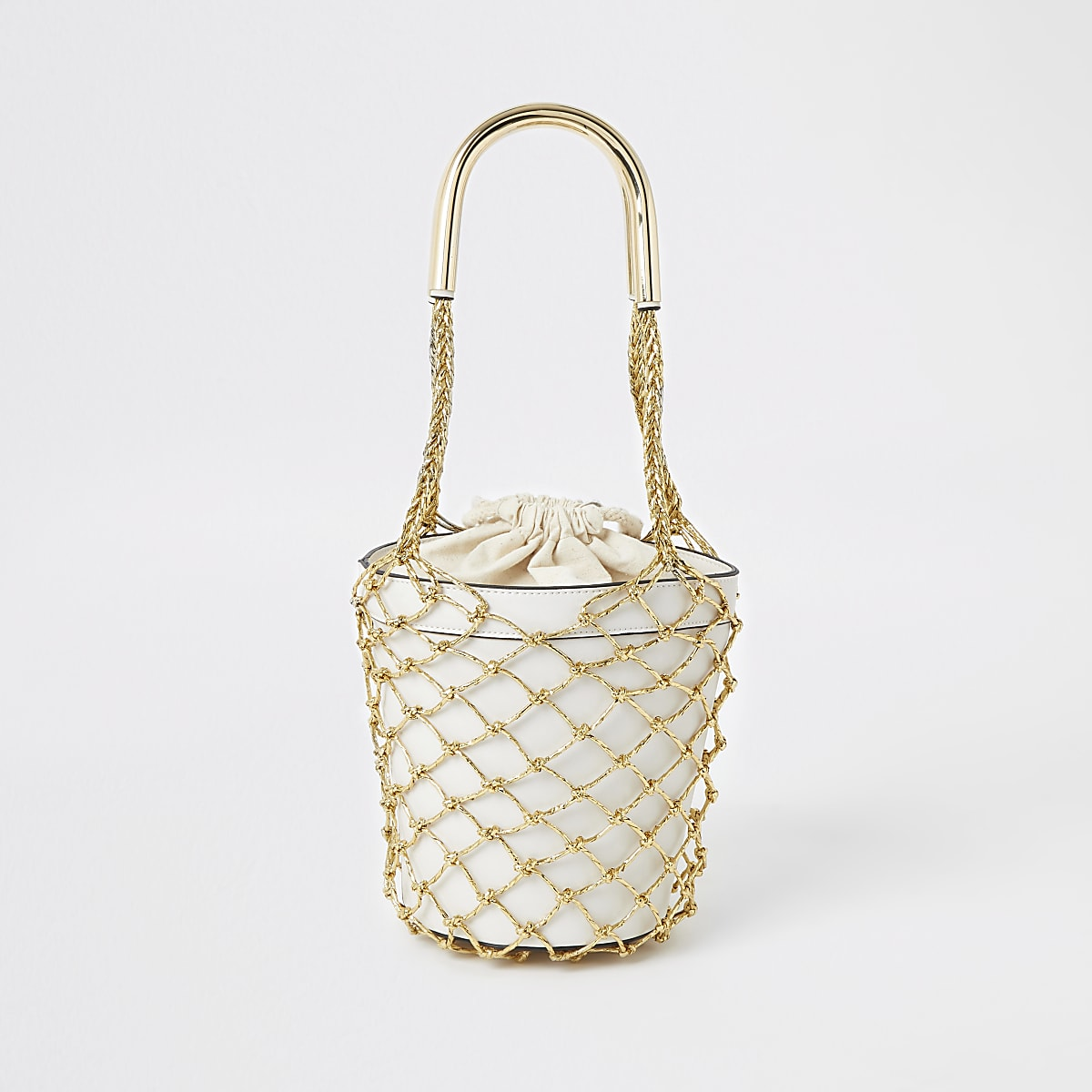 Gold metallic woven bucket bag