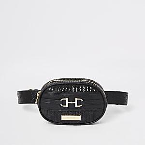 Zwart heuptasje met slangenprint en riem