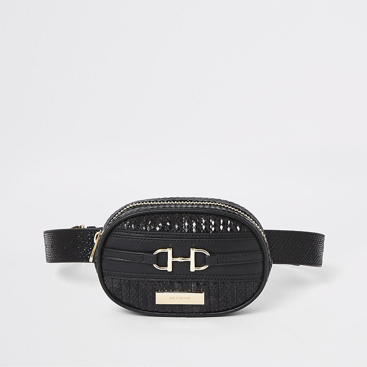 Black snake print belt bum bag