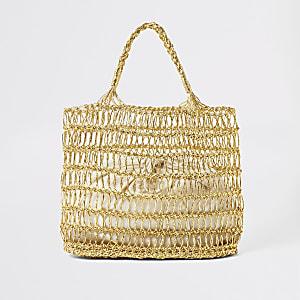 Gold metallic woven straw tote bag