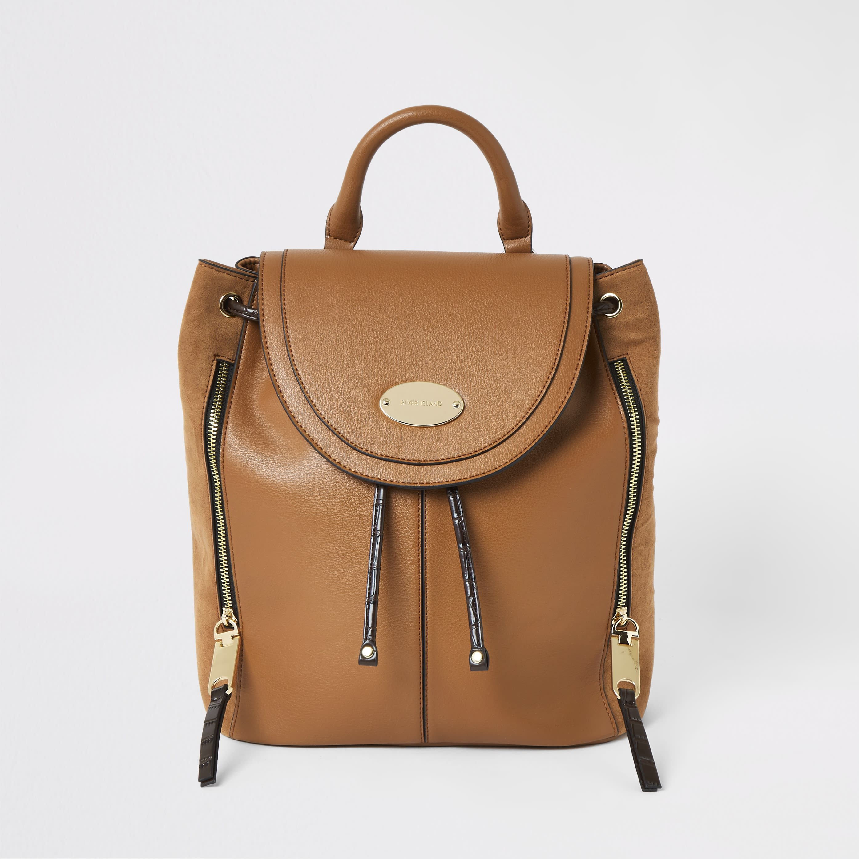 RIVER ISLAND | Womens Brown Flap Over Backpack | Goxip